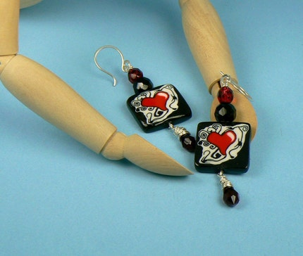 Queen of Hearts polymer czech swarovski bead and sterling silver earrings from etsy.com