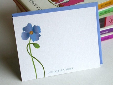 Himalayan Poppy Personalized Custom Notecards