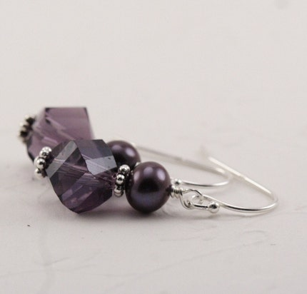 Purple Pearl Sterling SIlver Earrings