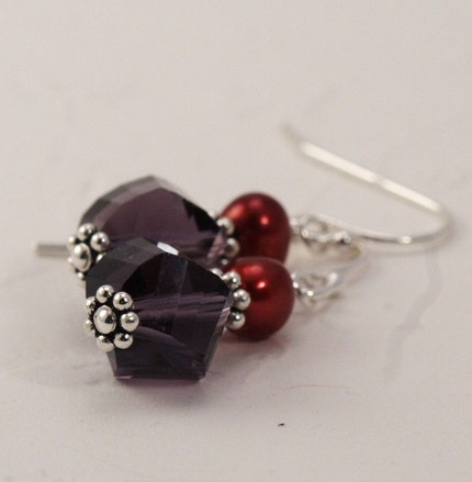 Purple and Ruby Sterling SIlver Pearl Earrings