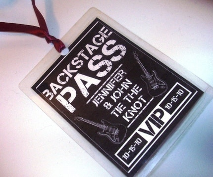 SIX BACKSTAGE PASSES - Wedding Favors - Perfect gifts for the Bridal Party at the Reception