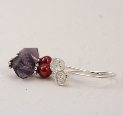 Purple and Ruby SIlver Rosebud Pearl Earrings