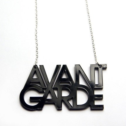 avant garde typography acrylic necklace black by plastique on Etsy from etsy.com