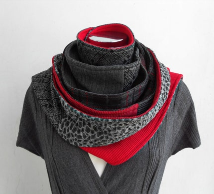 scarf, black, red, cowl, circle, layers, jersey, fnuufggh