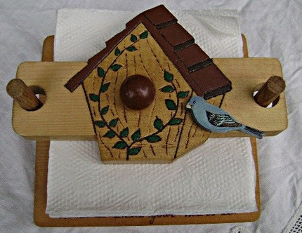 VINTAGE Wooden Bird House Napkin Holder