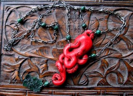 Cinnabar Octopus and Jade ($35)