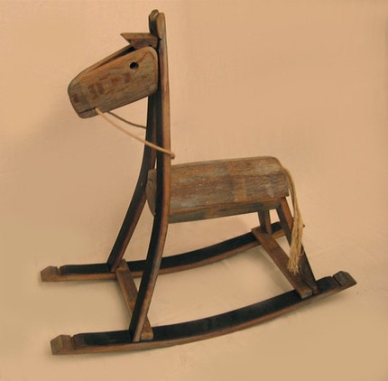 The Rocking Green Horse, RECYCLED solid white oak.