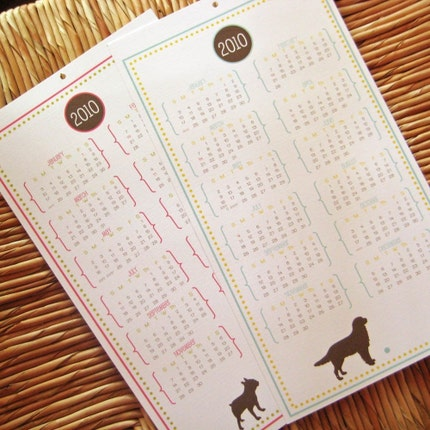 via Etsy: FireHydrantPress' personalised puppy silhouette calendar, USD$8