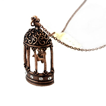 Crystal decorated Royal Court birdcage necklace by NaraBejewel from etsy.com