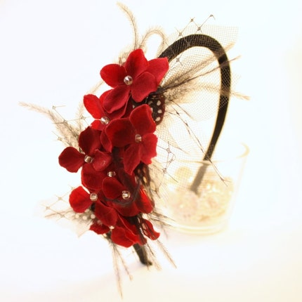 Gloria  Red Flower and Feather Headband by VieModerne on Etsy from etsy.com