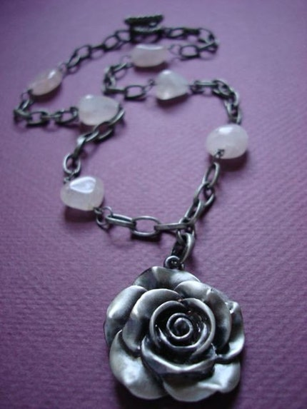 Burnished Silver Chain with Rose Pendant by kdaltondesigns on Etsy from etsy.com