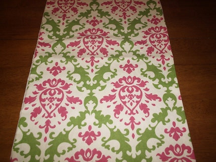 Waverly Pink and Green Damask Table Runner