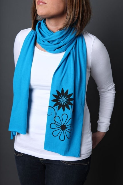 Retro Flowers Sheer Jersey Scarf
