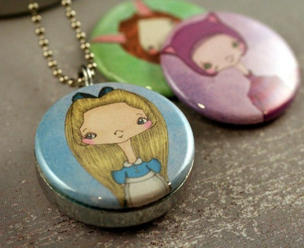 Alice in Wonderland STEPHANIE FIZER Recycled Magnetic LOCKET SET By Polarity