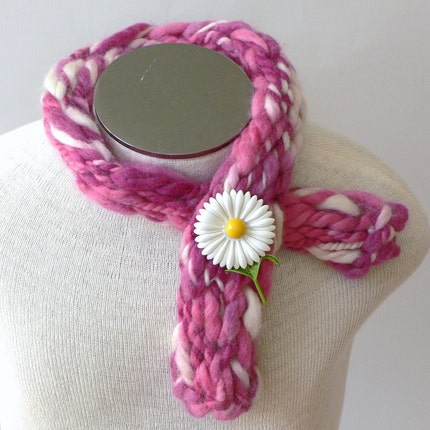 Think Pink Wool Scarflette - Breast Cancer Awareness - Donation