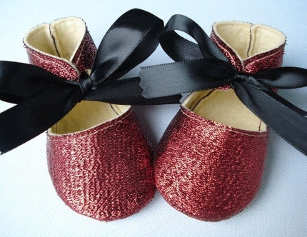 Ruby Red Glitter Slippers with Black Satin Ribbon Ties