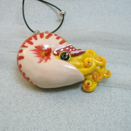 Fiery Nautilus Necklace - Handmade Polymer Clay Jewelry