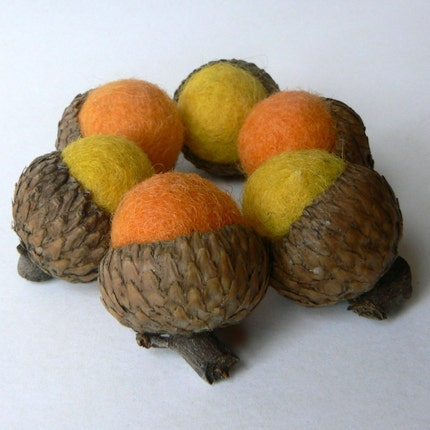 Six Halloween Acorns - Orange and Yellow Felted Acorns.