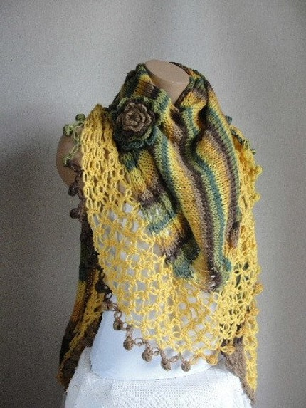YELLOW-GREEN-BROWN COLORFUL WOOL SHAWL
