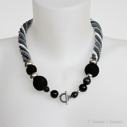Asymmetrical Spiral Necklace with Crochet Beads