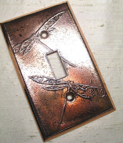 Dragonfly Switchplate by LuraJewelry on Etsy from etsy.com