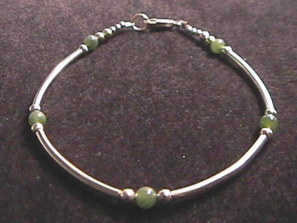 Jade and Sterling Silver Tube Style Bracelet 7.5 Inch Length