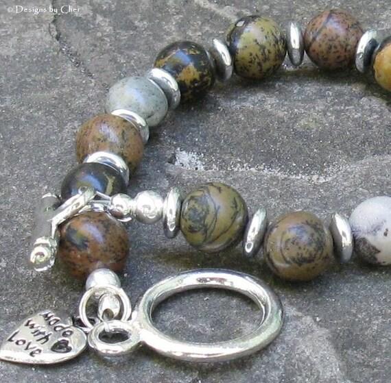 Paint Brush Jasper Toggle Bracelet  Earthtones  by designsbycher from etsy.com