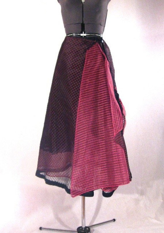 my donation to Virginians for Alternatives to the Death Penalty--Size Medium Black sheer shadow stripe and hot pink sheer shadow stripe skirt with lined bag