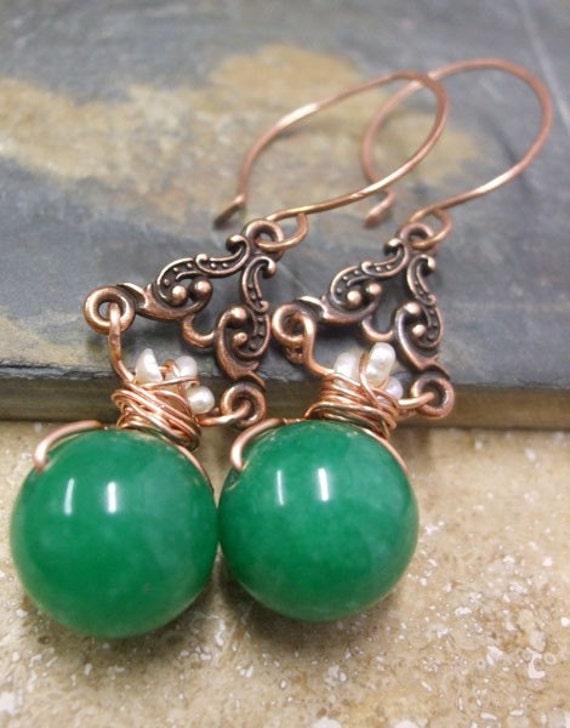 Jade Empress Pendant in Copper, ThePurpleLilyDesigns