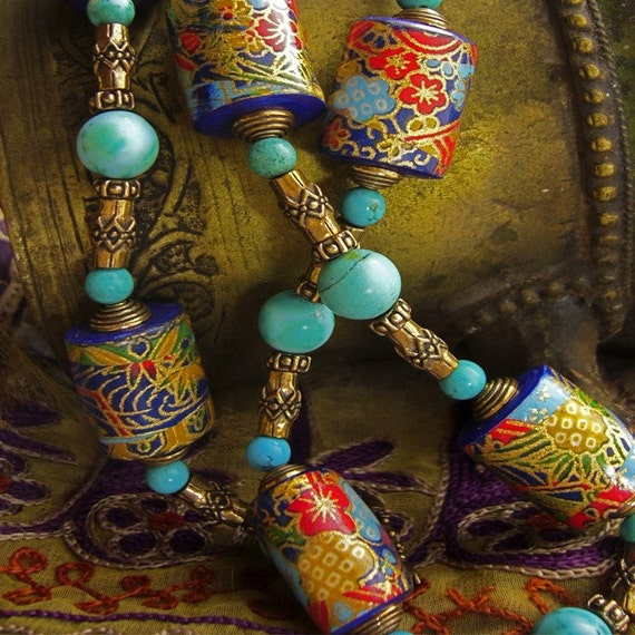 Paper Bead Jewelry- Red, Turquoise and Bronze Necklace