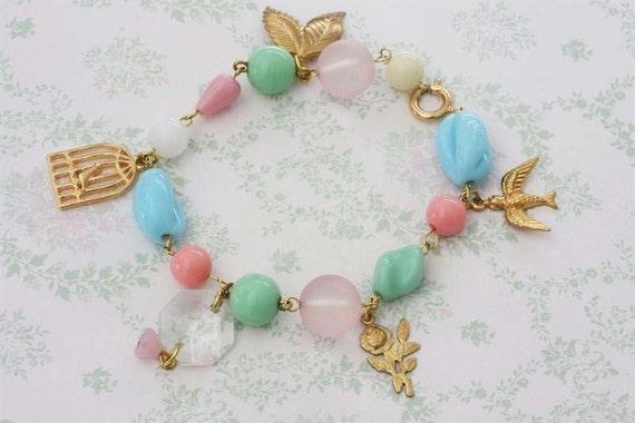 Birds and Roses Charm Bracelet