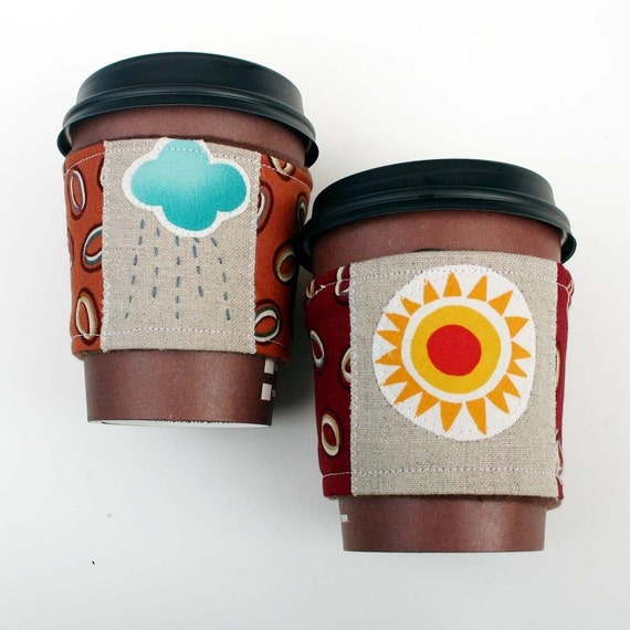 Coffee Cozy Sleeve Set -- I Love Coffee, Rain or Shine