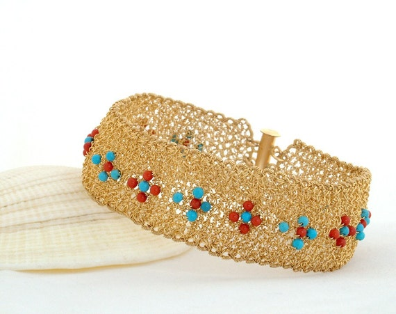 FATE, Bracelet, gold filled, corals, turquoise