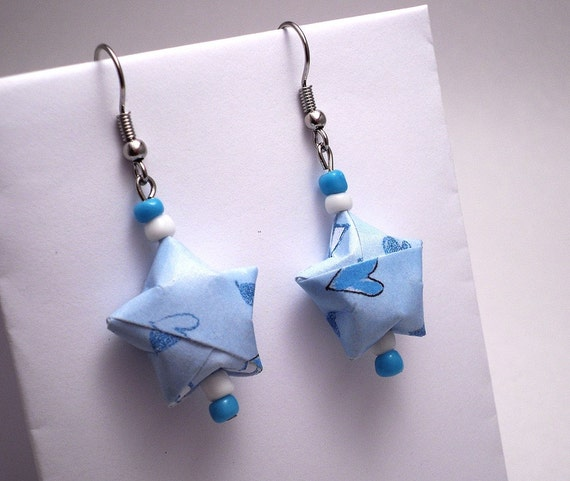Paper Origami Earrings Lucky Stars Beaded, Blue White Hearts