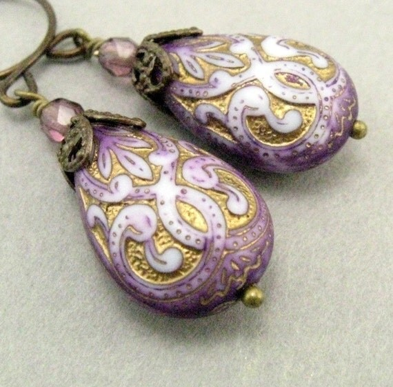 amethyst scroll earrings