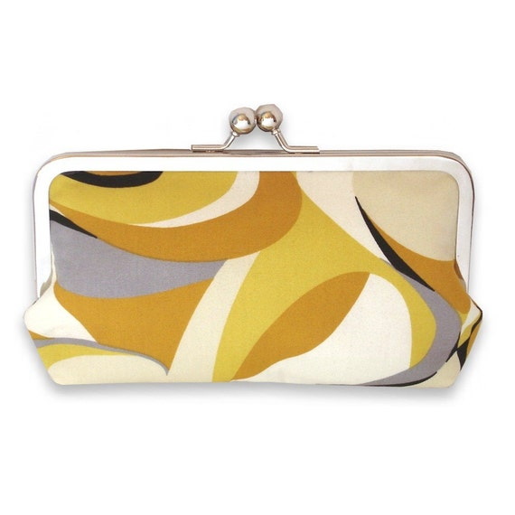 Yellow, Black, and Cream Mod Graphic Swirl Large Frame Clutch