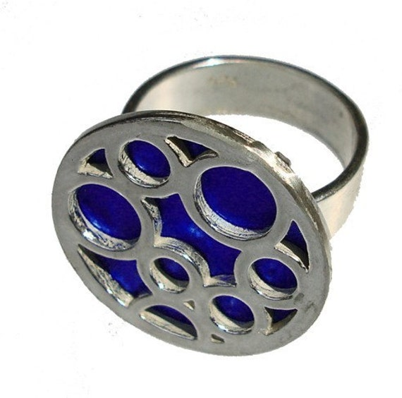 Medium Round Bubble Ring in Blue