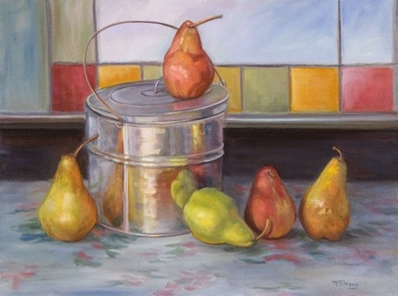 Pears by the Stained Glass Window