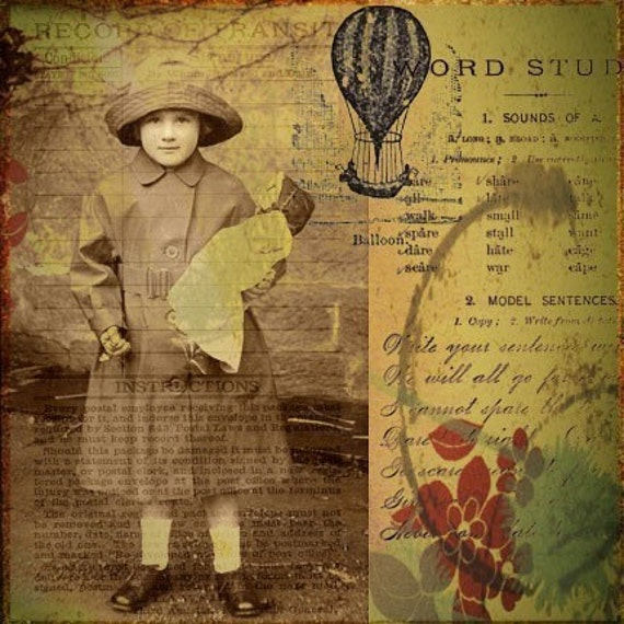 Little Girl In Mac Raincoat Mixed Media Collage Art Print - Little Soul