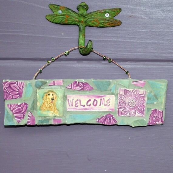 Golden Retriever Welcome Mosaic Sign-PCopper Patina Green and Fuschia