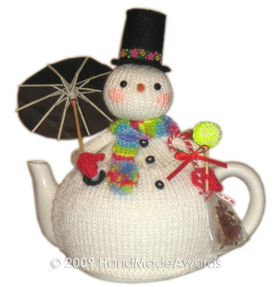 LOVELY Christmas SNOWMAN with UMBRELLA TEA COSY PDF email KNIT PATTERN BY HandMadeAwards