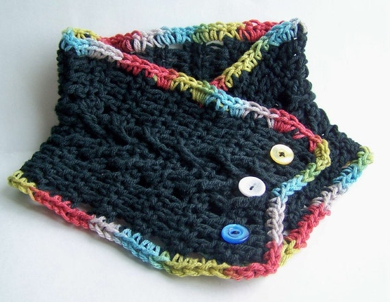 Black scarf cowl neckwarmer handmade