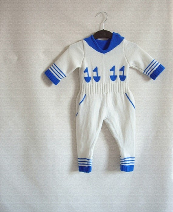 Handmade Knitted Sailor Babygrow