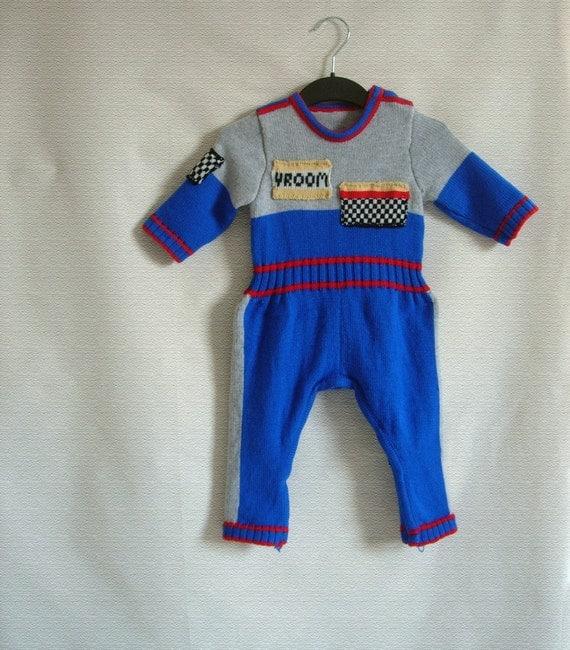 Handmade Knitted Racing Driver Babygrow