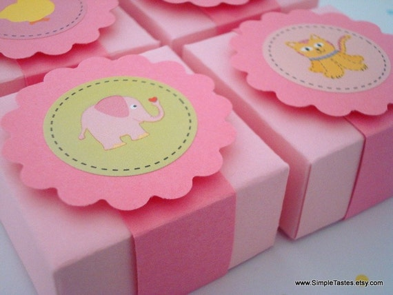 Baby Girl Shower Favor Boxes, Set of Ten