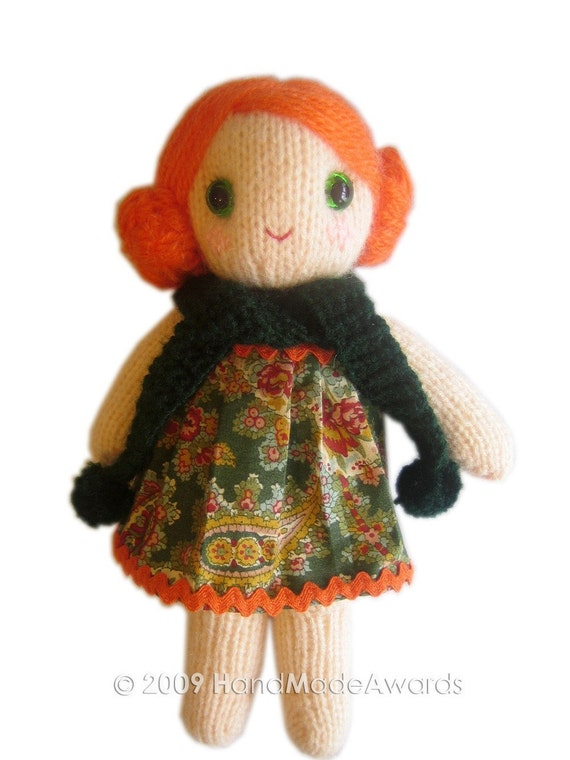 Lovely LOLA girly DOLL pocket friend KNIT PATTERN pdf EMAIL by HandMadeAwards