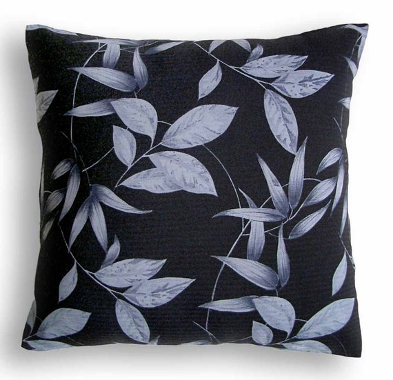Decorative Throw Pillow Case 16 inch Georgette Cushion Cover in black and shades of gray LEA DESIGN