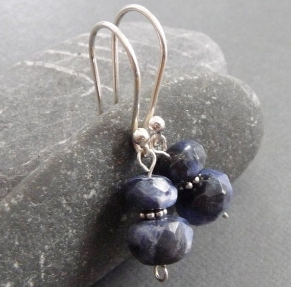 Sparkly Blue Sodalite Sterling Silver Earrings