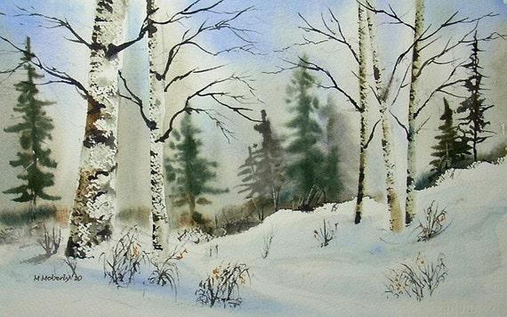 Winter Fields Num 4    original watercolor