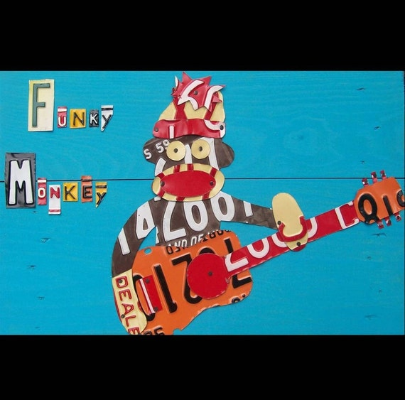 Funky Sock Monkey Playing Guitar - Recycled License Plate Art - Salvaged Wood - Upcycled Artwork